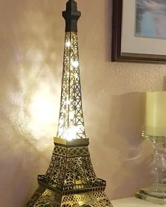 """Incredible DIY paper Eiffel Tower from SVGCuts by Wendy Hansen (@runswithscissors17) on Instagram: """"I dream of going to Paris someday, so I made my own Eiffel Tower from paper and micro-LED lights.…"""" Silhouette Cameo, Diy Paper, Paper Crafts, Svg Cuts, My Dream, Tower, The Incredibles, Led, Lights"""