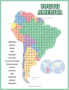 South America Word Search features the names of all 14 South American countries.  Puzzlers must look for the hidden names in all directions including backwards and diagonally.  The names of the countries are given in a list and are also printed on the map that serves as a background image for the puzzle.