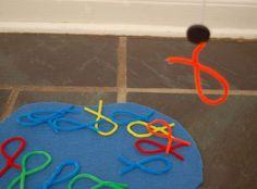 pretend play fishing - make fish out of pipe cleaners, then attach magnet to string tied to a stick