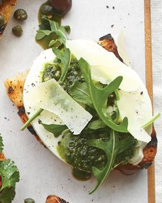 Mozzarella, Pesto, Arugula, and Parmesan Bruschetta - Martha Stewart Recipes