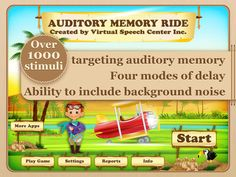 Auditory Memory Ride by Virtual Speech Center Inc. ($13.99) a comprehensive and fun app for students aged six to 13 with central auditory processing disorder (CAPD) or other related disorders (e.g., receptive language disorder or autism).  The Auditory Memory Ride app includes over 1000 stimuli with pre-recorded audio and the ability to introduce background noise.   The app includes both recognition and recall tasks with the ability to delay the presentation of the stimuli. There are four modes of delay, including No delay, 5-second delay, 10-second delay, and 15-second delay.
