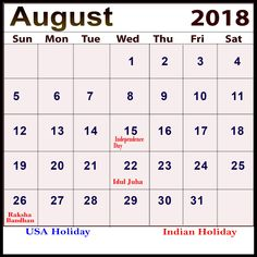 2018 august printable calendar holidays free blank calendar 2018 india 2018 holiday calendar 2018