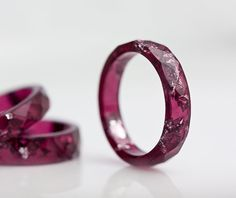 Deep Purple Resin Ring Stacking Ring Silver Flakes Small Faceted Ring OOAK dark…
