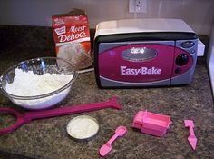 DIY Easy Bake Oven Cake Recipe. Mix one Tablespoon of milk with three Tablespoons of cake mix and bake for 12 minutes in the Easy Bake Oven. One box of cake mix will make approximately 20 little cakes!