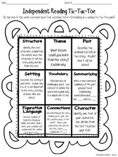 INDEPENDENT READING REFLECTION CHOICE BOARD- TIC TAC TOE FREEBIE! - TeachersPayTeachers.com
