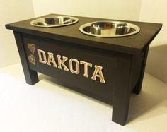 Dog Dish Stand Personalized Dog Bowl Dog BowlWooden Dog