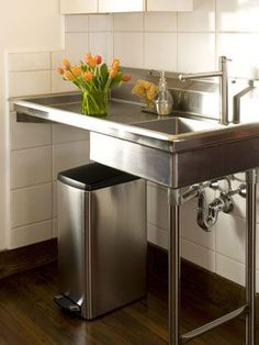 Stainless Steel Sink With Sliding Doors Garages