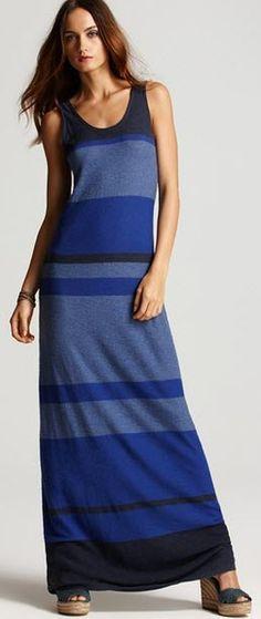 Vince Multi Stripe Maxi Dress in Blue