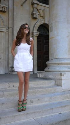 White dress and green shoes..perfect!
