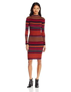 Derek Heart Juniors Funnel Neck Long Sleeve Stripe Midi Sweater Dress, Red Rumba, L