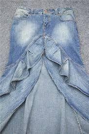 Resultado de imagen para faldas largas de jean reciclado