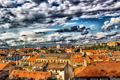 Picture of Scenic view of the historical center of Prague: houses, buildings, palaces, landmarks of old town with the characteristic and picturesque red rooftops and multi-coloured walls. stock photo, images and stock photography. Rooftops, Palaces, Wall Colors, Prague, Old Town, Building A House, Buildings, Photo Editing, Walls