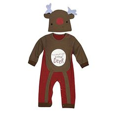Baby Christmas Outfits Handyulong Infant Baby Boys Girls Christmas Suit Romper  Hat Outfits Clothes Set 9 Months Brown >>> Click image for more details. (This is an affiliate link) #ChristmasBoysOutfit
