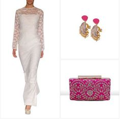 Step out in style with this sensational outfit! A stunning white dress can be enhanced by colourful accessories like these stylish pink earrings with semi-precious stones by Roopa Vohra and this exquisite pink bag by The purple sack! #thepurplesack #anitadonre #indianclutches #handbags #indianjewellery #roopavohra #pink #white #indianaccessories #earrings #stylish #outfit