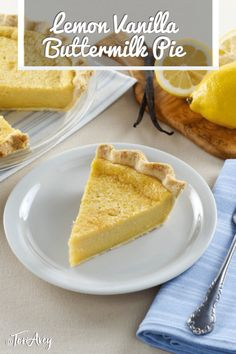 Lemon Vanilla Buttermilk Pie - Classic Dessert with Tart Lemon Custard Sweet Vanilla and Tangy Buttermilk Time-Tested Family Recipe from Site Contributor Kelly Jaggers Kosher Recipes, Lemon Recipes, Tart Recipes, Pie Dessert, Dessert Recipes, Sukkot Recipes, Buttermilk Pie, Buttermilk Recipes, Lemon Custard
