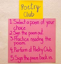 Fluency Poetry Club is an activity the gets everyone involved. Students find a poem that they can practice their fluency and expression and at the end of the week (or the teacher's choice time period) the student will preform the poem for the class. Reading Help, Reading At Home, Reading Intervention, Reading Comprehension, Forms Of Poetry, End Of The Week, Balanced Literacy, Student Motivation, Figurative Language