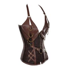 Brown Corset with Faux Leather Halterneck SO BEAUTIFUL http://www.corsets-uk.com/brown-corset-with-faux-leather-halterneck-cd-789.html