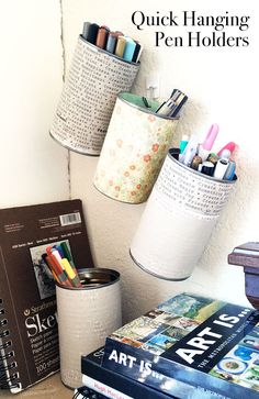 Easy Recycled Hanging Pencil and Pen Organizers