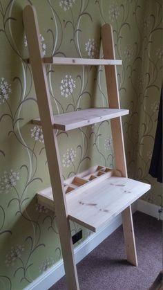 Lean to desk handmade wooden ladder desk with desk tidy Ladder Desk, Wooden Ladder, Furniture Projects, Home Projects, Home Furniture, Desk Tidy, Diy Desk, Leaning Wall Shelf, Leaning Desk
