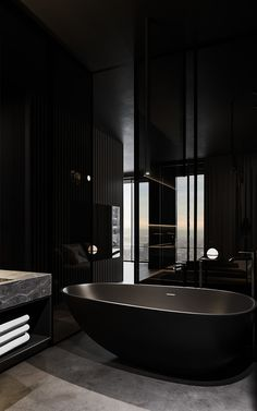 Black bathroom in Moscow. Design project by Visualization by Dream House Interior, Luxury Homes Dream Houses, Dream Home Design, Modern House Design, Mansion Interior, Black Interior Design, Black Bedroom Design, Bedroom Black, Interior Ideas