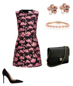 """""""Pink flamingo"""" by kat-henderson on Polyvore featuring RED Valentino, Gianvito Rossi, Chanel, Allurez and Bling Jewelry"""