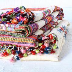 One-of-a-kind vintage embroidered pom-pom pashminas?
