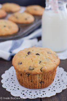 Banana muffins with chocolate chips and oats make a great breakfast treat.