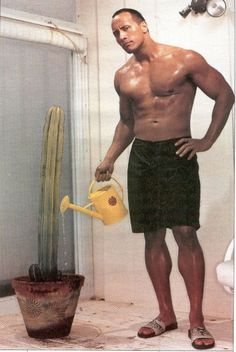 Dwayne Johnson, as adept at watering plants a Renaissance man.....I think my plants need some watering too.