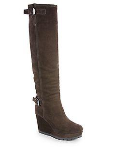 I'm obsessed. Prada Suede Knee-High Wedge Boots