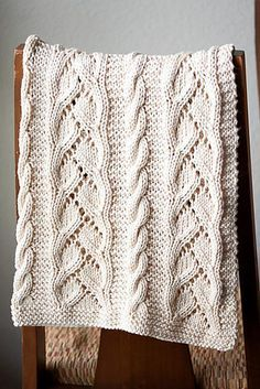 """Ravelry: Fancy Cables and Lace Baby Blanket pattern by SweaterBabe Gauge is approximately 17 stitches = 4 ¼"""" 11 cm and 23 rows = 10 cm in Curvy Vine Stitch on Size 9 mm needles. Knitted Afghans, Knitted Baby Blankets, Baby Afghans, Crochet Blanket Patterns, Knitted Blankets, Baby Knitting Patterns, Lace Knitting, Baby Blanket Crochet, Fancy"""