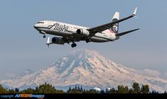 Alaska Airlines Boeing 737-890(WL) - cn 35177 / ln 2031 N558AS on short final for 34C at Seattle-Tacoma International Airport with Mt Rainier in the background.
