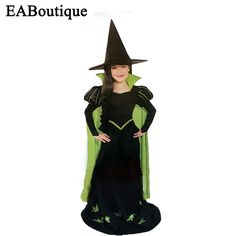 2016 new high quality halloween costume for kids girls Green witch costumes sets girls halloween outfits include hat and dress #Affiliate
