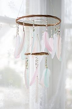 Large Pastel Chandelier Dream Catcher Mobile - 12x18Inches Dreamcatcher Mobile Dreamcatcher Mobile Bohemian Dream Catcher Nursery Mobile Crib Mobile Cot Mobile Baby Mobile Boho Decor Wedding Decor