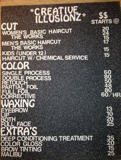 DIY salon price list AFTER