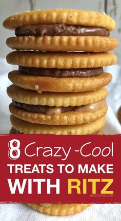 Easy and fun snack and treat ideas made with Ritz crackers! These Ritz cracker recipes are perfect for making treats, snacks, sandwiches and even pizza! Quick and easy snack ideas for kids. snacks for a crowd 8 Crazy-Cool Treats To Make With Ritz Crackers Ritz Cracker Dessert, Ritz Cracker Recipes, Recipes With Ritz Crackers, Snack Mix Recipes, Yummy Snacks, Yummy Food, Salty Snacks, Kids Cooking Recipes Easy, Cooking With Kids Easy