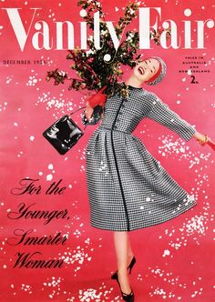 Christmas themed Vanity Fair cover, December 1956. #vintage #1950s #fashion #magazines #Christmas