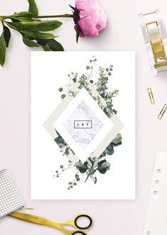 Modern Botanical Neutral Wedding Invitations Marble Natural