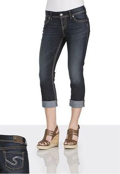 Silver Jeans Sale Mid Suki Sequin Curvy Cropped Capri Stretch Jean 27,28,30,31 #SilverJeans #CapriCropped