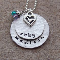 Hand Stamped Mother's Necklace  Personalized by BellaRayDesigns, $50.00