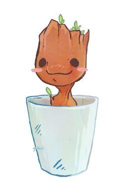 art by godbait:  Little tiny Groot ♡
