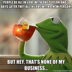 people be all in love with one person and 3 days later they all in love with a new person. but hey, that's none of my business... | Kermit The Frog Drinking Tea