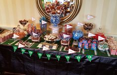 Football theme bar mitzvah candy table by www.diptonline.com Football Candy Table, Football Banquet, Football Themes, Grad Parties, Birthday Parties, Bar Mitzvah, First Birthdays, Christmas Tree, Holiday Decor
