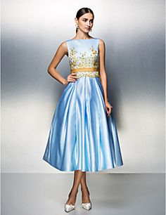 A-Line Jewel Neck Tea Length Satin Cocktail Party   Prom Dress with  Appliques   Pleats by TS Couture® 1ee9ce3b99188