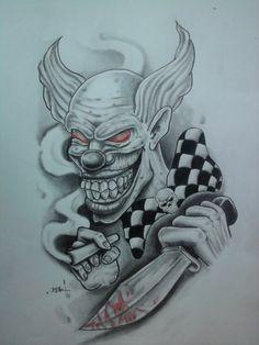 DeviantArt: More Like Flash tattoo by Evil Clown Tattoos, Skull Tattoos, Body Art Tattoos, Tattoo Drawings, Joker Tattoos, Evil Clowns, Scary Clowns, Jester Tattoo, Evil Jester