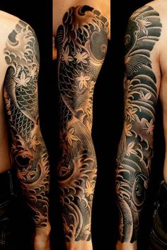 ▷ 1001 traditional tattoo ideas + information about their history and symbol . - ▷ 1001 traditional tattoo ideas + information about their history and symbolism – - Koi Tattoo Sleeve, Tattoo P, Japanese Sleeve Tattoos, Best Sleeve Tattoos, Tattoo Fonts, Body Art Tattoos, Cool Tattoos, Tattoo Japanese, Yakuza Tattoo