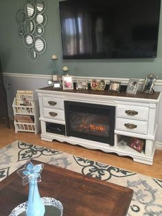 dresser turned media console fireplace, fireplaces mantels, painted furniture, After