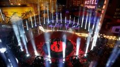 Imagine Dragons perform live on Fremont Street Las Vegas-bred rockers Imagine Dragons used their hometown fans and streets to perform a first-of-its-kind live ad for Target during the Grammys telecast on Feb. Stage Set Design, Event Design, Eye Logo, Big Night, Wine Festival, Stage Lighting, Imagine Dragons, Light Installation, Deutsch