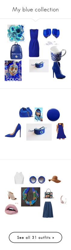 """My blue collection"" by mariellascode on Polyvore featuring Versace, Precis Petite, Certified International, Caskata, Michael Antonio, Diane Von Furstenberg, Lauren B. Beauty, TEM, Leur Logette and Dolce&Gabbana"