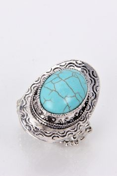 Antique Design Turquoise Stretch Ring | JOIA Accessories - Wholesale Fashion Jewelry