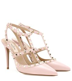 Valentino - Rockstud leather pumps - Valentino's 'Rockstud' pumps are equal parts elegant and edgy. Coated in grainy light pink leather with a smooth matching trim, this studded pair will work for day and evening alike. seen @ www.mytheresa.com